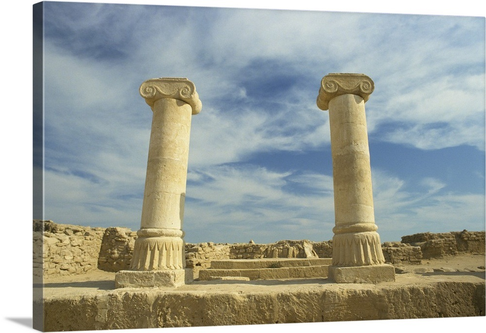 Columns with Ionic capitals at the ruins of a Greek, Failaka Island, Kuwait