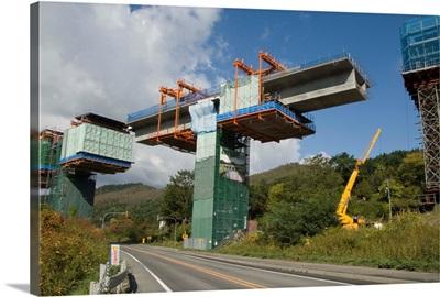Construction of new viaduct near Hidaka, for freeway from Sapporo to Obihiro, Japan