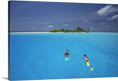 Couple Snorkelling In The Maldives, Indian Ocean