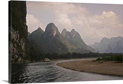 Cruise boat on Li River between Guilin and Yangshuo, Guangxi Province, China