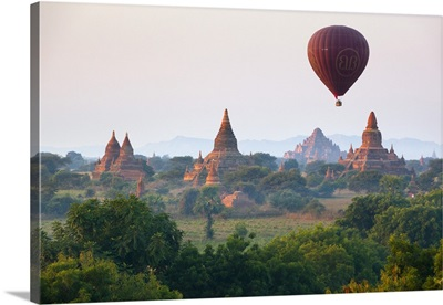 Dawn over ancient temples from hot air balloon, Bagan, Central Myanmar, Myanmar