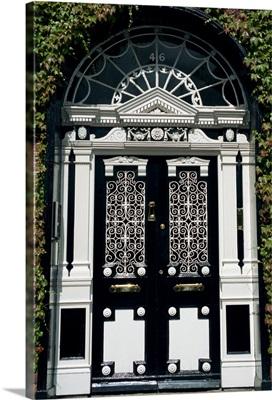 Decorative Georgian doorway in Dublin, Eire, Europe