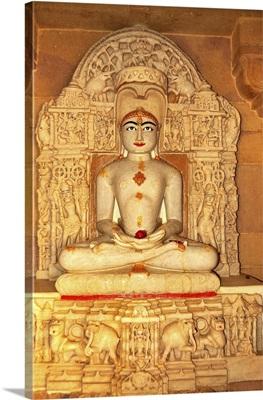 Depiction Of Rishabha In Jain Temple Of Adinath (Rishabha), Jaisalmer, Rajasthan, India