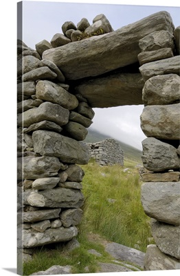 Deserted village at the base of Slievemore mountain, Republic of Ireland