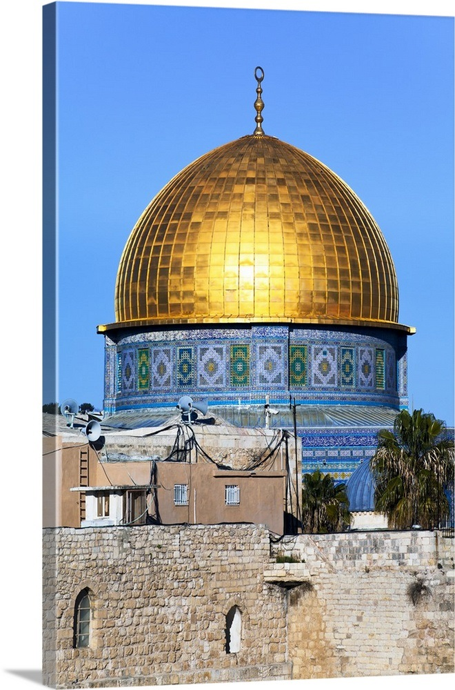 Dome of the Rock above the Western Wall Plaza, Old City, Jerusalem, Israel,  Middle East