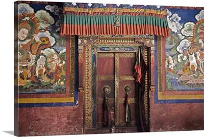 Door and wall paintings, Lamayuru gompa Lamayuru, Ladakh, Indian Himalaya, India