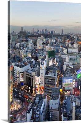 Elevated view of Shinjuku skyline viewed from Shibuya, Tokyo, Honshu, Japan