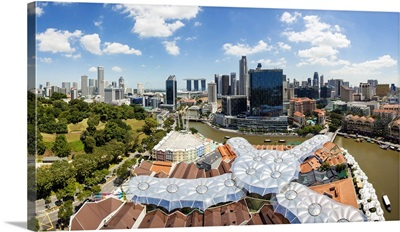 Elevated view over Fort Canning Park and the modern city skyline, Singapore