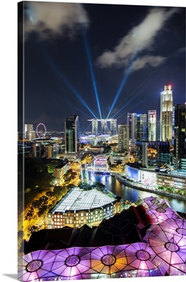 Elevated view over the Entertainment district of Clarke Quay, Singapore