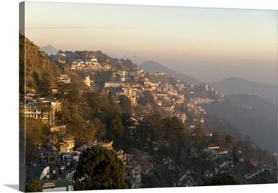 Evening light on foothills of Garwhal Himalaya, Uttarakhand, India