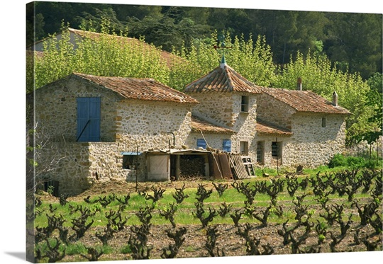 Exterior Of A Stone Farmhouse In Vineyard Near Pierrefeu Provence France