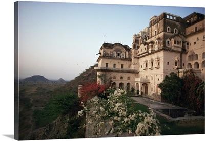 Exterior view, Neemrana Fort Palace Hotel, Neemrana, Rajasthan state, India, Asia