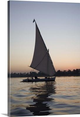 Felucca, sunset, River Nile, Luxor, Egypt, Africa