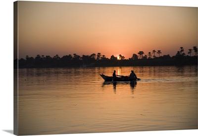 Fishing boat, sunset, River Nile, Egypt, Africa