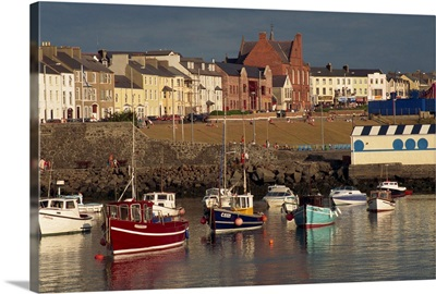 Fishing boats moored in harbour, Portrush, Ulster, Northern Ireland, UK