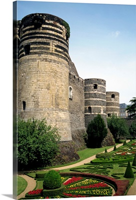 Formal gardens and walls of the Chateau d'Angers in the Pays de la Loire, France