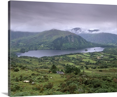 Glanmore Lake from Healy Pass, County Kerry, Munster, Republic of Ireland