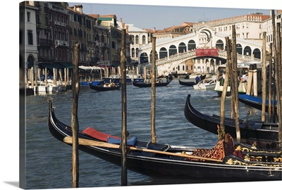 Gondolas, Grand Canal and Rialto Bridge, Venice, Veneto, Italy