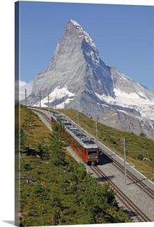 TRAVEL ALPINE RAILWAY JUNGFRAU MOUNTAIN FLAG SWIS FRAMED ART PRINT B12X3378