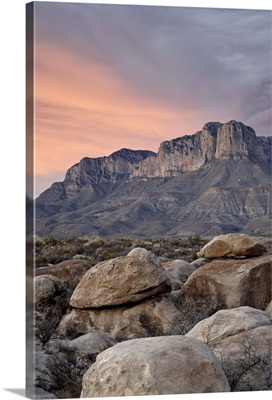 Guadalupe Peak and El Capitan at sunset, Guadalupe Mountains National Park, Texas