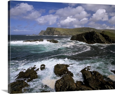 Headland and rough sea, County Kerry, Munster, Republic of Ireland