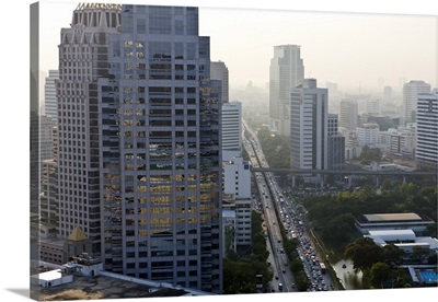 High rise buildings and traffic congestion, Sathorn Road, Bangkok, Thailand
