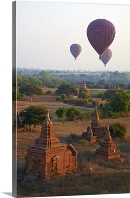 Hot air balloons above Bagan, Myanmar