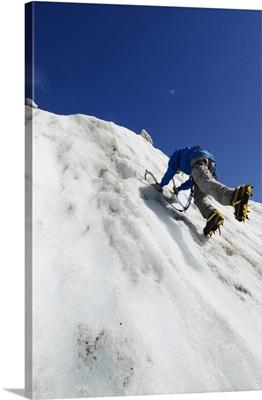 Ice Climber At Mer De Glace Glacier, Chamonix, Haute-Savoie, French Alps, France