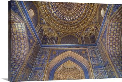 Interior of Tilla Kari Medressa at the Registan, Samarkand, Uzbekistan