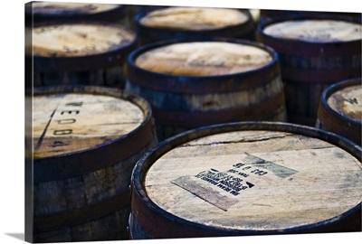 Jura whisky distillery barrel storage, Jura Island, Inner Hebrides, Scotland