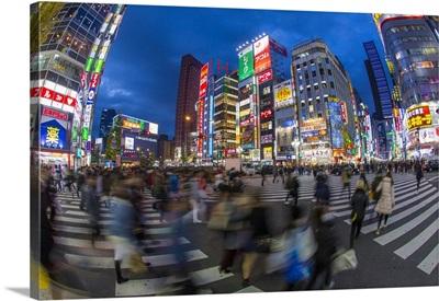 Kabukicho Entertainment District Illuminated At Dusk, Shinjuku, Tokyo, Japan
