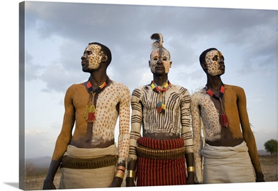 Karo Tribesmen With Face And Body Painting, Omo River, Lower Omo Valley, Ethiopia