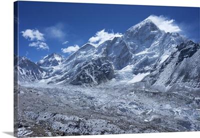 Khumbu glacier with Changtse, Everest and Nuptse, Nepal, Himalayas