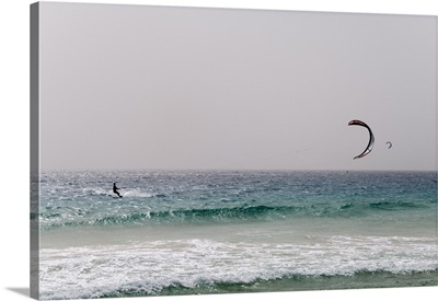 Kite surfing at Santa Maria on the island of Sal, Cape Verde Islands, Africa