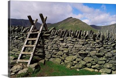 Ladder stile over dry stone wall, Cumbria, England, United Kingdom, Europe