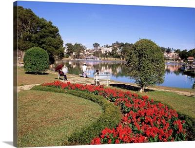 Lake and flower gardens, Dalat, Central Highlands, Vietnam, Indochina