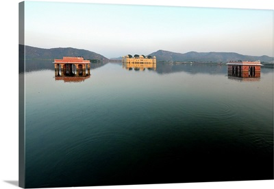 Lake and Palace on Amber's road, Jaipur, Rajasthan, India