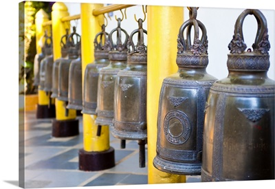Large Buddhist prayer bells at Wat Doi Suthep Temple, Chiang Mai, Thailand