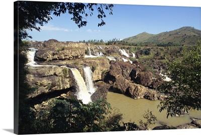 Lien Khuong waterfall and rocks at Dalat, Vietnam, Indochina