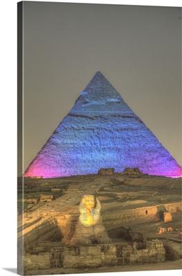 Light Show, Sphinx, Khafre Pyramid, Great Pyramids Of Giza, Giza, Egypt, Africa