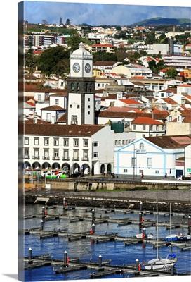 Main Church clock tower, Ponta Delgada City, Azores, Portugal, Atlantic