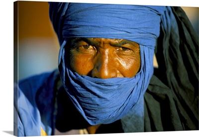 Man Wearing Blue Headscarf, Djemma El Fna, Marrakech (Marrakesh), Morocco