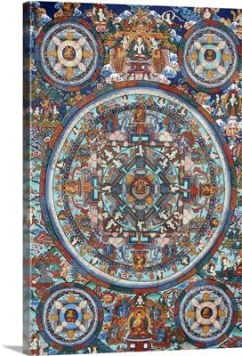 Mandala on a Tibetan thangka, Bhaktapur, Nepal