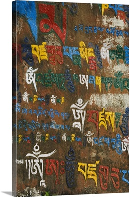 Mani stone detail, McLeod Ganj, Dharamsala, Himachal Pradesh state, India