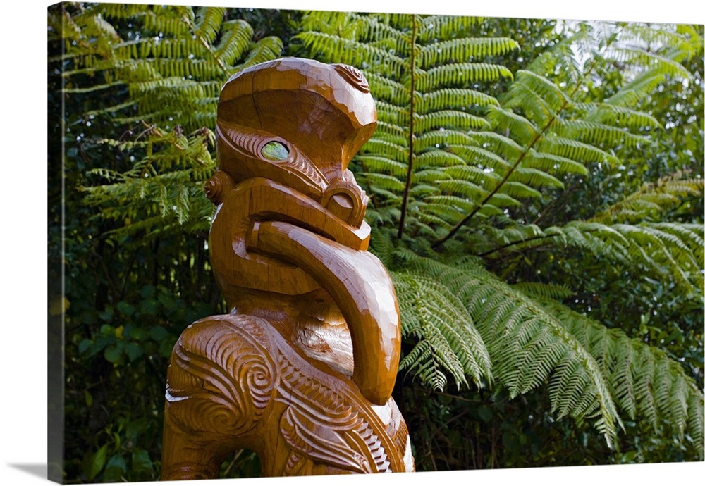 Maori Wood Carving Ships Cove Marlborough Sounds South Island New Zealand