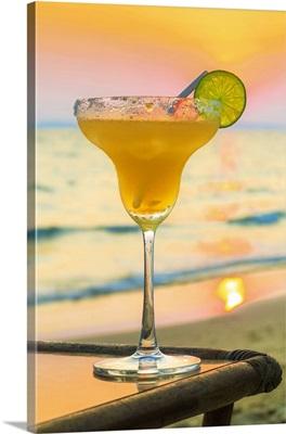 Margharita Cocktail At Sunset, Otres Beach, Sihanoukville, Cambodia, Indochina, Asia