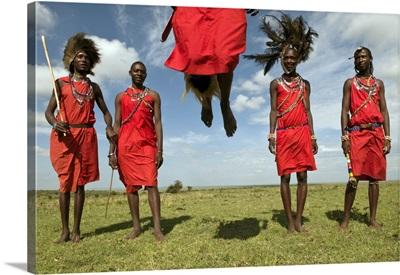 Masai Performing Warrior Dance, Masai Mara, Kenya