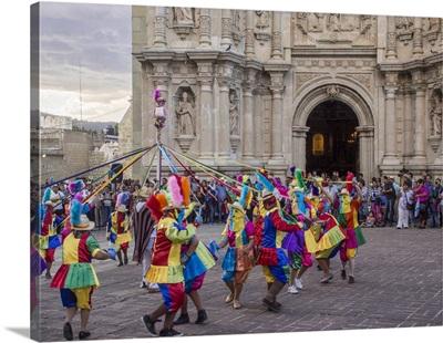 Masked dancers, Fiesta de la Virgen de la Soledad, Oaxaca, Mexico