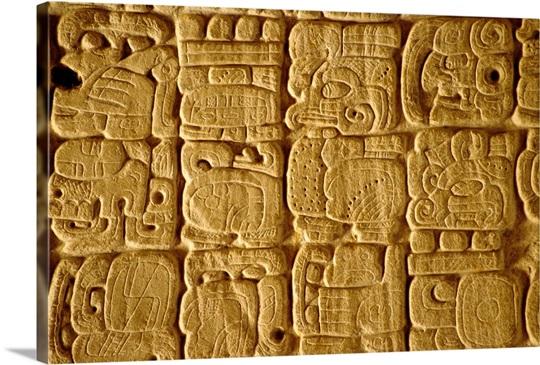 Mayan carvings on Stela, Tikal, Guatemala, Central America Wall Art ...