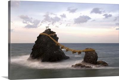 Meoto-Iwa two rocks considered to be joined in matrimony, Chubu, Honshu, Japan